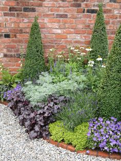 Topiaries adds a vertical dimension to this side garden's design while brick edging provides a clean barrier against contrasting white pebbles.
