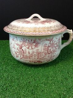 "1891 Chamber Pot With Lid Red English Transferware JH Weatherby Sons ""Orleans"" #JHWeatherbySons"