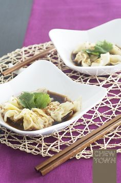 Wontons in Spicy Sauce - At first glance, you might wonder why I have listed 'wontons in spicy sauce' as a Chew Town Bites recipe. The reason is because this is a quick and easy version of the dish for you to try at home when slaving over a stove is not an option. In this recipe I'm not …