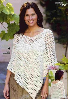 tema07_6 Crochet Poncho Patterns, Knitted Poncho, Crochet Cardigan, Crochet Scarves, Crochet Shawl, Crochet Clothes, Diy Clothes, Free Crochet, Knit Crochet