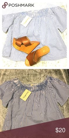 Blue and White striped off the shoulder blouse Pinstriped and Flowy off the shoulder Tops Blouses