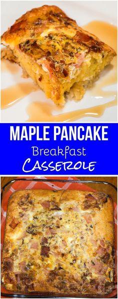 Maple Pancake Breakfast Casserole. Easy breakfast idea using pancake mix, hash browns and eggs. #breakfast #pancakes