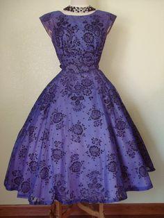 retro vintage styled purple and black dress