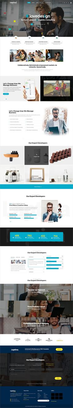 Laptina is modern and creative design multipurpose PSD #template for stunning #transport and #logistic company website with 18+ niche homepage layouts and 67 layered PSD files download now..