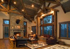 Great Room of Rustic Retreat sq. Log Cabin Living, Log Cabin Homes, Cabin Style Homes, Luxury Log Cabins, Shed Homes, Luxury House Plans, Ranch Style Homes, Great Rooms, The Help