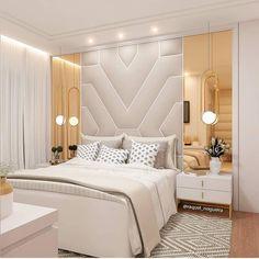 Quarto lindo, com essa cabeceira linda! Modern Luxury Bedroom, Luxury Bedroom Furniture, Modern Master Bedroom, Stylish Bedroom, Modern Bedroom Design, Master Bedroom Design, Luxurious Bedrooms, Double Bedroom, Bedroom Designs