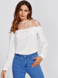 8a8573cc58 Mesh Yoke Tiered Scalloped Applique Blouse -SheIn(Sheinside) Types Of  Shirts, Collar