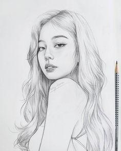 Pencil Sketches Of Faces, Beautiful Pencil Sketches, Sketches Of Girls Faces, Pencil Portrait Drawing, Girl Drawing Sketches, Kpop Drawings, Face Sketch, Portrait Sketches, Pencil Drawing Tutorials