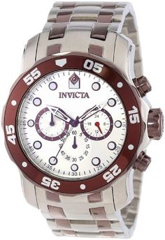 Invicta Mens 13674 Pro Diver Chronograph Silver Dial Stainless Steel Watch ** See this great product.