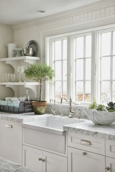 The Granite Gurus: Whiteout Wednesday: 5 White Kitchens with Farmhouse Sinks