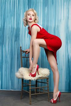 """Gwendolyn, red and white.  It also comes in other patriotic colors, as """"pin up girl"""" shoes should.  http://www.designershoes.com/bettie-page-gwendolyn-red-white"""
