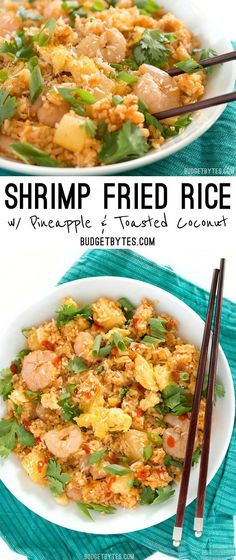 Shrimp Fried Rice with Pineapple and Toasted Coconut is a fast and easy meal with tropical flare. @budgetbytes