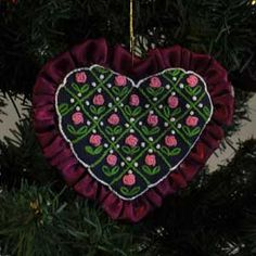 Rose Heart, Embroidered Christmas Tree Ornament...so lovely!