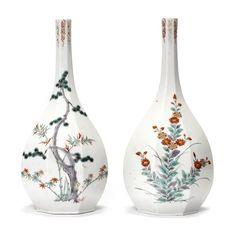 Two Kakiemon ovoid octagonal bottles Late 17th century (3)