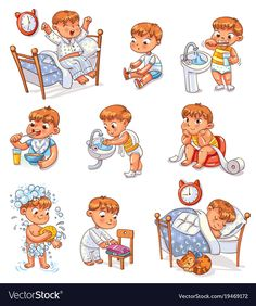 Daily routine activities Baby sitting childrens pot Boy brushing his teeth Kid ne Daily Routine Kids, Daily Routine Activities, Kids Routine Chart, Activities For Kids, Kinder Routine-chart, Kids Schedule, Summer Schedule, Charts For Kids, Cartoon Kids