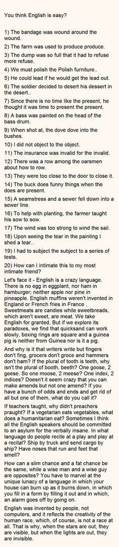 Funny - You think English is easy?