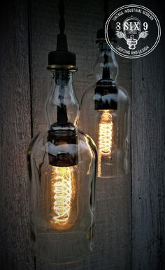 These bottles are the black series of Balvenie Whiskey bottle and are absolutely beautiful as a pendant light, made from all different aged whiskey bottles