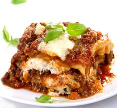 My Favorite Lasagna • a delicious meat sauce with some special ingredients and three cheeses makes this lasagna extra good • Panning The Globe