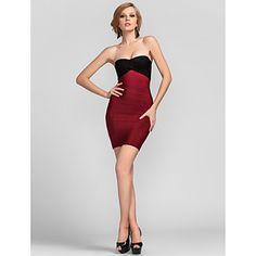 kılıf+/+sütun+straplesssweetheart+Mini+/+kısa+rayon+bandaj+elbise+–+USD+$+99.99