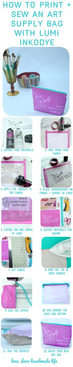 giveaway + how to print and sew an art supply bag with lumi - dear handmade life