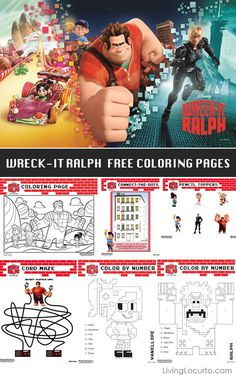 Wreck-It Ralph Free Printable Activity & Coloring Sheets - Disney - Living Locurto Party Halloween Appetizers For Adults, Adult Halloween Party, Easy Halloween, Halloween Treats, Camping Party Decorations, Camping Parties, Free Printable Coloring Pages, Free Printables, Easter Printables
