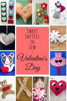 Cute, Easy-Sew Softies for Valentines Day - Free Tutorials - Free sewing tutorials and patterns for cute and easy to sew softies for Valentines Day that you can - Valentine's Day Crafts For Kids, Fun Activities For Kids, Sewing Projects For Beginners, Sewing Tutorials, Free Tutorials, Sewing Tips, Sewing Hacks, Sewing Ideas, Sewing Crafts
