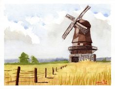 A lot of things clicked for me with this one (Windmill, original work, watercolor on cold-pressed paper) : painting Sketch Painting, Watercolor Paintings, Knife Painting, Watercolours, Holland, Urban Sketchers, Art Sketchbook, Aesthetic Art, Watercolor Illustration