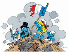 """Viva La Smurf! In France, today is Bastille Day. Once again, LAFIG, the wonderful company in charge of all things Smurf, has provided me with the image commemorating this historic time in French history.  This image is a Smurfy take on the famous painting """"Liberty Leading the People"""" by Eugene Delacroix.  This all new Smurfs movie has more than a few French connections! Our Production Designer Noelle Triaureau and our Character Designer Patrick Mate are both French born and grew up enjoying…"""