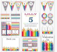 Custom Rainbow Birthday Party Kit, Printable Art Party Set INSTANT DOWNLOAD rainbow chevron, printable birthday party 1st, 2nd, 5th birthday...