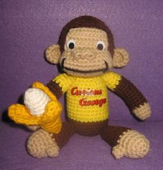 Handmade crochet inspired Curious Geroge Monkey with by JNArts, $39.00