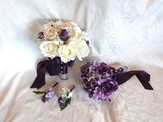 Bridal bouquet bridesmaid bouquet purple roses lilac hydrangea wedding bouquet and boutonniere set