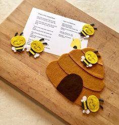 Five Little Honey Bees Flannel Board Stories, Felt Board Stories, Felt Stories, Flannel Boards, Toddler Activities, Sequencing Activities, Felt Crafts, Diy Crafts, Art For Kids