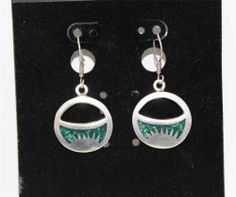 Beautiful Sterling Silver malachite Dangle Earrings  OA7