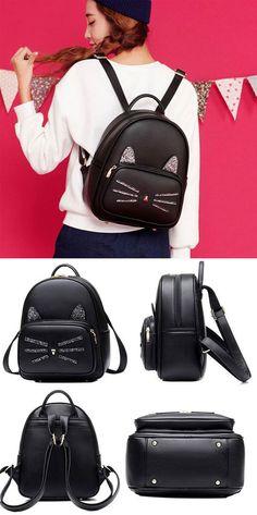 Cute Cat Zipper Travel Kitty Cartoon Kitten Black PU Sequined School Backpack for big sale ! #school #kitten #kitty #college #bag #backpack