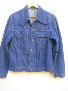 Vintage 70's JACKET Denim  men's Hippie MCMotorcycle Blue Coat 1970s men's VINTAGE  denim Jacket colden buttons Small Unisex  mens size C46 by VirtageHelsinki on Etsy