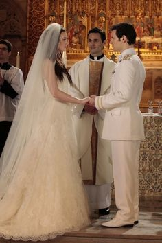 Blair (Leighton Meester) makes it to the altar with her Prince Louis (Hugo Becker), but their fairy tale is spoiled when a Gossip Girl blast reveals that she still loves Chuck.  Photo courtesy of The CW