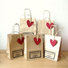 Wedding Favour bags SMALL size with Red Heart