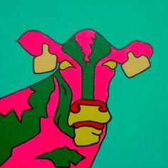 Pop-Art Cow acryl op canvas (linnen) 25/25cm Meer originele schilderijen op www.art-4-u.eu