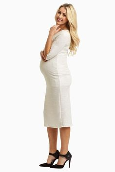Modest White Maternity Dress
