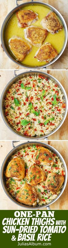 Chicken and Rice with Sun-Dried Tomatoes fresh Basil