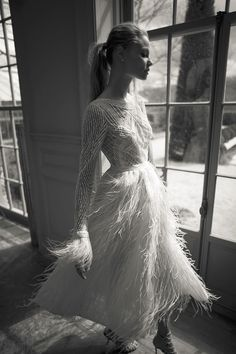 This feather wedding dress by Berta Bridal was shared by The Wedding Club and is… Designer Wedding Dresses, Bridal Dresses, Wedding Gowns, Lace Wedding, Wedding Blog, Wedding Ideas, Bridal Musings, Wedding Dress With Feathers, Feather Dress