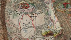 I love these Map works by Matthew Cusik (http://mattcusick.com)