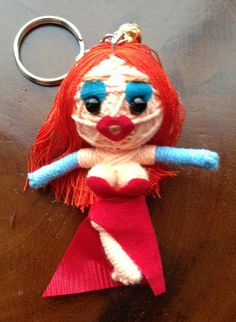 Voodoo Handmade Doll of String Charm and Keyring Jessica Rabbit from Roger Rabbit