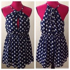"Spotted while shopping on Poshmark: ""Forever 21 polka dot navy HALTER blouse L keyhole""! #poshmark #fashion #shopping #style #Forever 21 #Dresses"