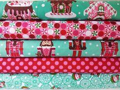 CHRISTMAS FABRIC BUNDLE - Gingerbread Houses - Michael Miller - Fat Quarter Bundle