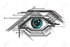 Conceptuel Abstrait Tech Illustration Stylisée Vecteur Yeux Clip Art Libres De Droits , Vecteurs Et Illustration. Pic 11403275.