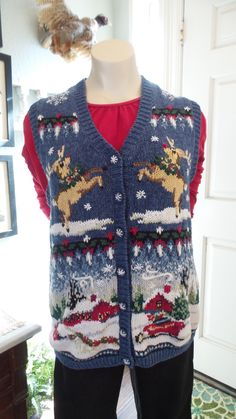 Winter Snowman Wearing Red Sweater with Metallic Gold Snowflake Patch