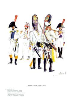 Spanish; Line Infantry 1808. L to R officer Regt. Malaga, Grenadier in tenue de quartier, Grenadier Regt. de la Princesse, Sapper Regt. Guadalajara & Fusilier Regt. Princesse.