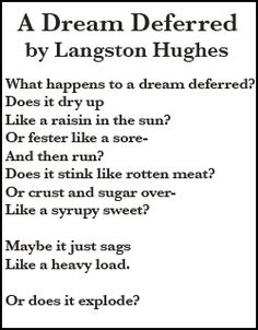 compare a dream deferred and dream by langston hughes Montage of a dream deferred is a book-length poem suite published by langston hughes in 1951 its jazz poetry style focuses on descriptions of harlem (a neighborhood of new york city) and its mostly african-american inhabitants the original edition was 75 pages long and comprised 91.