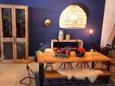 We love blue :)  table, bench, stool, console, display cabinet from our workshop, klewitz die werkstatt